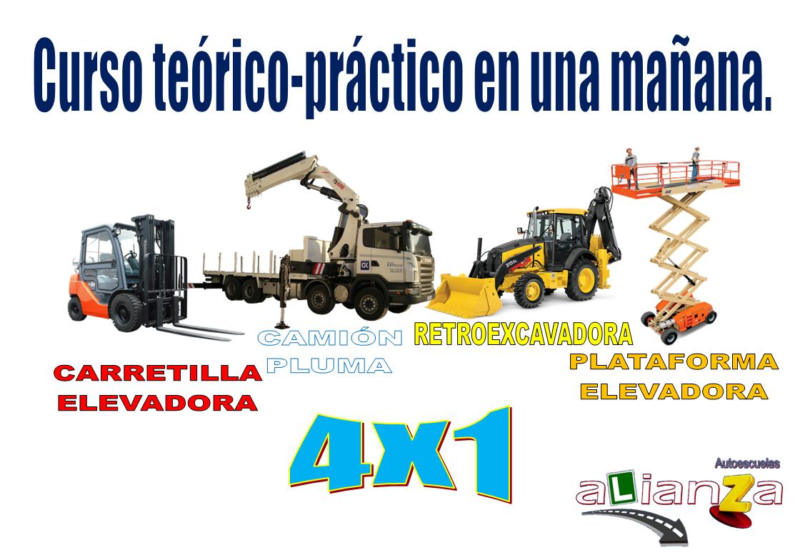 Curso de Carretilla Elevadora, Camión Pluma, Retroexcavadora y Plataforma Elevadora.